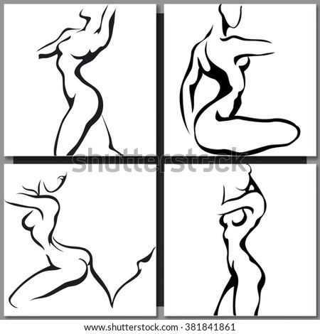 Set of woman silhouettes. Sketch black line vector on white background