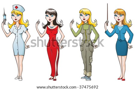 Set of 4 women, different occupations: nurse, singer, geologist and teacher. Vector illustration - stock vector