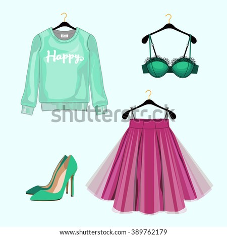 Set of women fashion clothes for shopping catalog. Vector sweatshirt, skirt,shoes, lace bra. Fashion illustration.