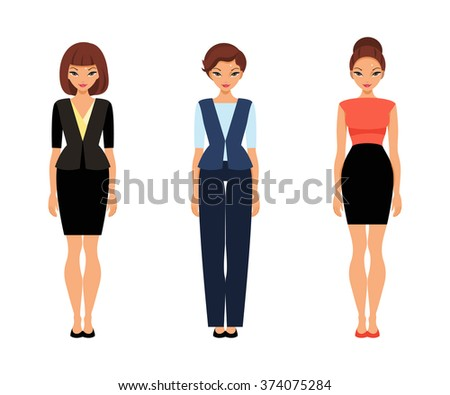 Set women office clothes template paper stock vector 374075284 set of women in office clothes template paper doll pronofoot35fo Gallery