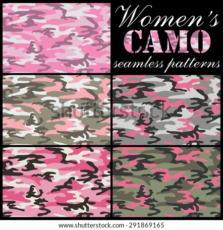 Set of women's camouflage seamless patterns.Pinkish, urban and woodland color scheme. - stock vector