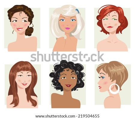 set of women's hairstyles and types of appearance - stock vector