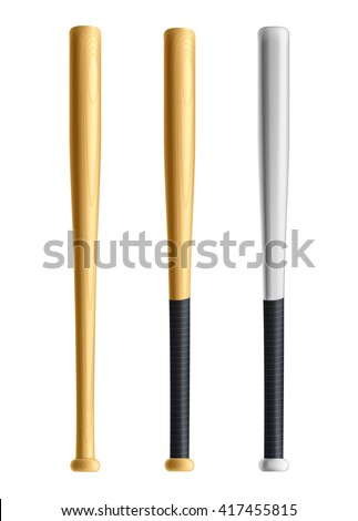 set of wood and metal baseball bats isolated on white eps 10 realistic objects