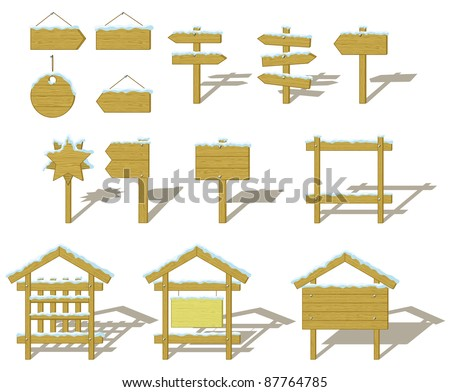 Set of wood board billboards and signs under winter snow. vector