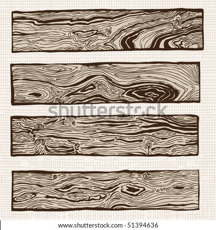 Set of wood plank with wooden texture - stock vector