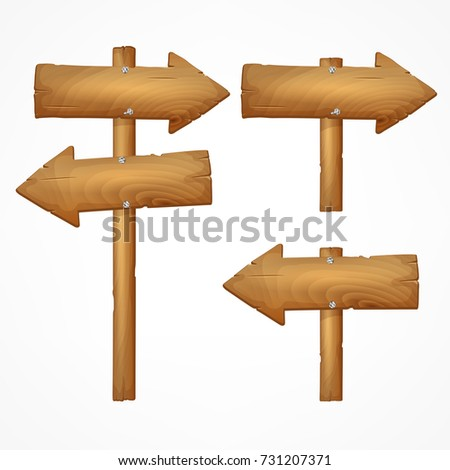 Set of wooden arrow signs isolated on white background.