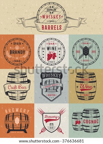 Set of wooden casks with alcohol drinks emblems and labels. Set of vintage logo, badge, template with wooden barrels for beer house, bar, pub, wine and whiskey market, brewery, restaurant and winery. - stock vector