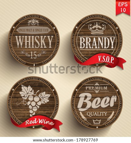 Set of wooden casks with alcohol drinks emblems - vector illustration. - stock vector