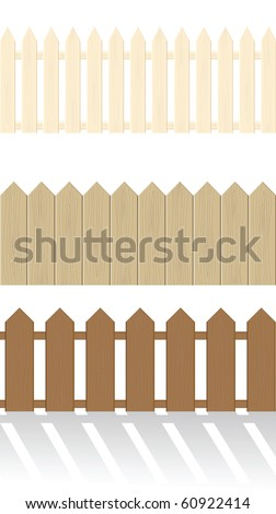 Set of wooden fences isolated on a white background - stock vector