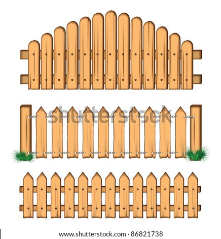 set of wooden fences. vector.