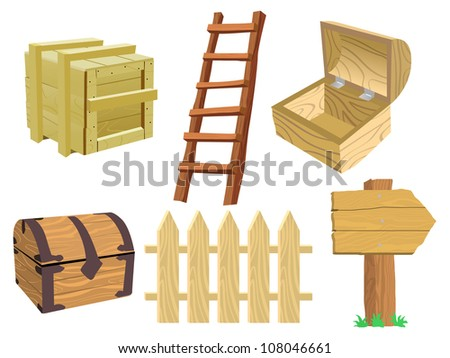 Set of wooden objects - stock vector