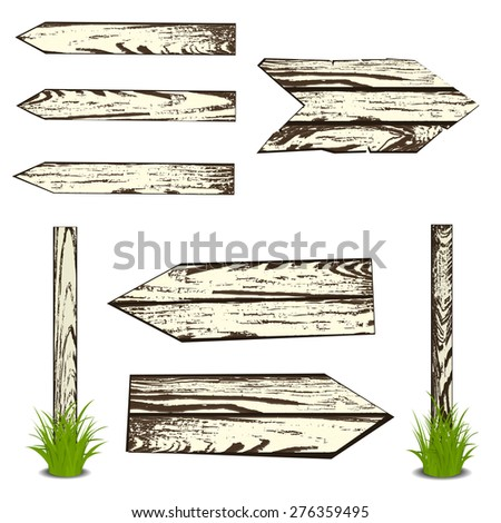 Set of wooden planks. Vector illustration, isolated on white - stock vector