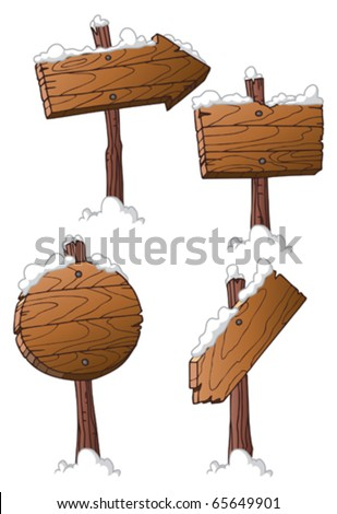 set of wooden road signs - stock vector