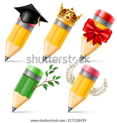 Set of wooden sharpened pencils in different images isolated on white background. Detailed vector illustration. - stock vector