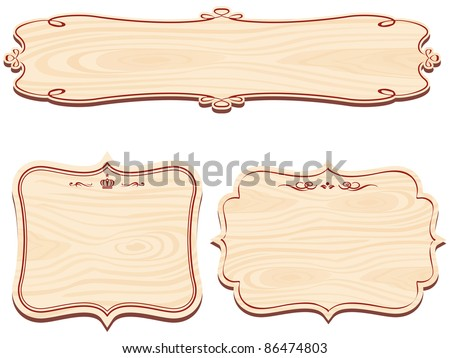 Set of Wooden Sign vector - stock vector