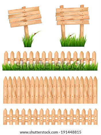Set of wooden signs and a fences with grass. Vector. - stock vector