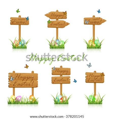 Set of wooden signs with flying butterflies and colorful Easter eggs in the grass isolated on whit background, illustration.