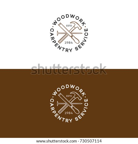 Set Of Woodwork Logo With Hammer And Nail Isolated On Background For Carpentry Service Wood