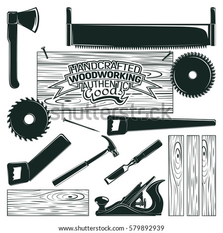 Unique Vintage Woodworking Logo Design Grange Print Stock Vector