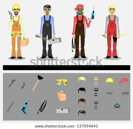 set of workers with tools - stock vector