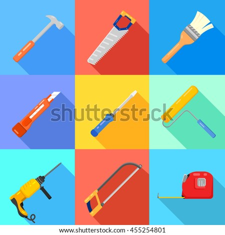 Set of working instruments. Tools for house repair. Vector flat. - stock vector