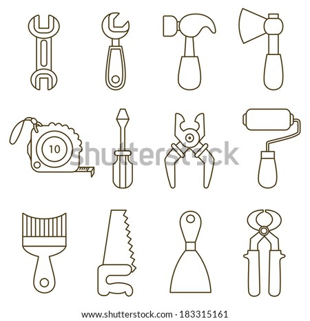 set of working tools icons (coloring book) - stock vector
