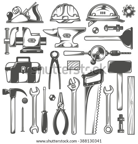 Set of working tools in vintage style. - stock vector