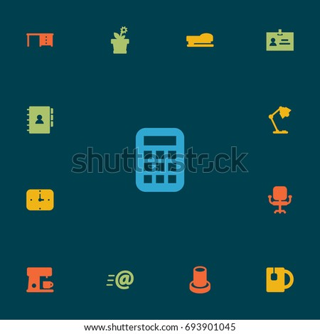 Set Of 13 Workspace Icons Set.Collection Of Illuminator , Stand , Calculate Elements.