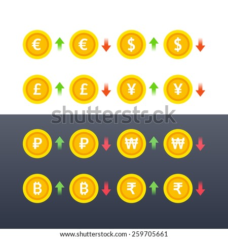Set of world currency coins symbols. EPS 10. RGB. Transparencies - stock vector