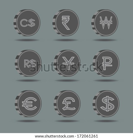set of world Currency symbol on coins  - stock vector
