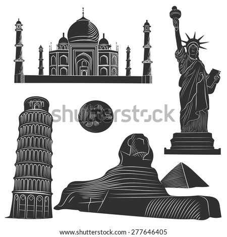Set of world famous architectural landmarks of various countries, monochrome with detailed. Vector illustration - stock vector