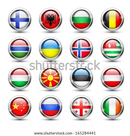 Set of world flag glass icons, vector illustration - stock vector