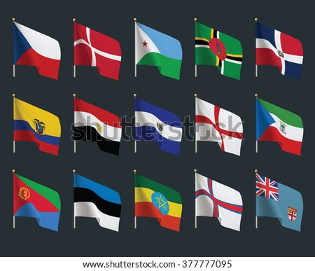 Set of world flags. Realistic waving flags.