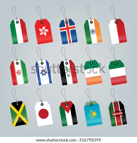 Set of world flags. Shop tag  - stock vector