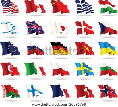 Set of world flags, vector illustration - stock vector