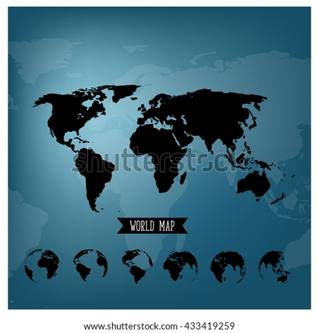 Set of world globe and world map, vector illustration. - stock vector