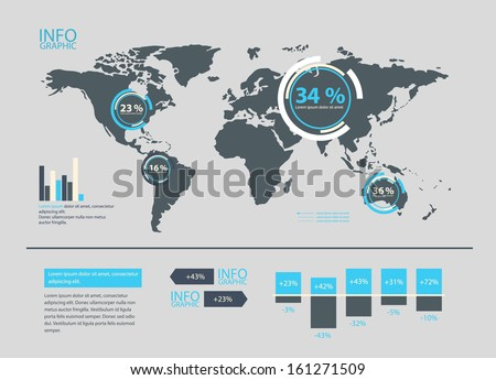 Set of World Map and infographics elements. - stock vector