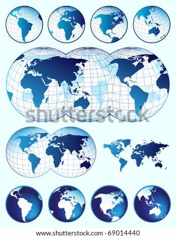 Set of world maps - stock vector