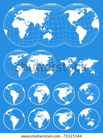 Set of world maps - stock vector