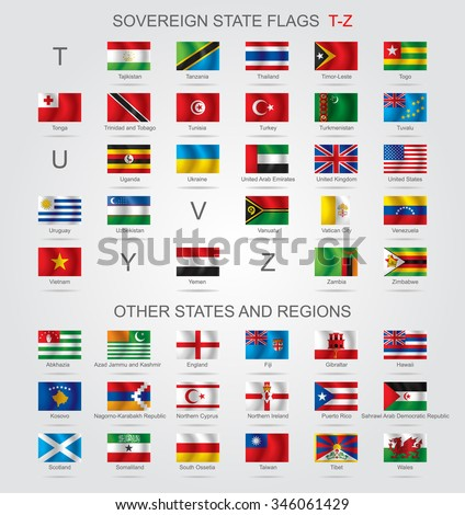 Set of world sovereign state and other flags with captions in alphabet order.  Vector illustration