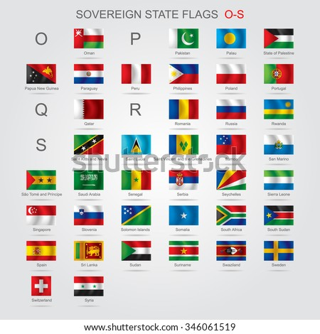 Set of world sovereign state flags with captions in alphabet order.  Vector illustration - stock vector