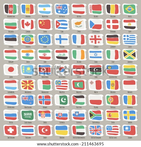 Set of World States Flags. - stock vector