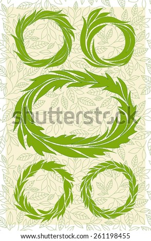 set of wreaths, green stylized leaves  - stock vector