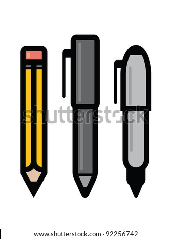 Set of Writing Utensils. Three writing utensil icons - pencil, pen and marker. - stock vector