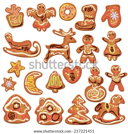 Set of xmas gingerbread isolated on white - cookies in reindeer, star, moon, people, heart, house and fir-tree shapes. Elements for Christmas and New Year design - stock vector