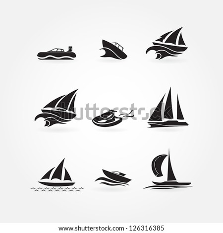 Set of yacht icons - stock vector