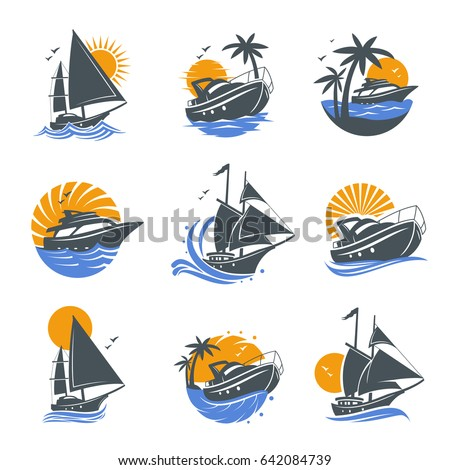 Boat logo stock images royalty free images vectors shutterstock set of yacht icons with waves and sun on a white background the template for toneelgroepblik Image collections