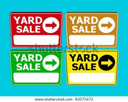 set of yard sale sign