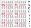 Set of 2013 1214 1215 1216 1217 1218 year, Calendar grid pocket vector - stock photo
