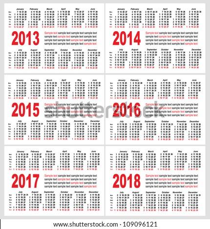 Set of 2013 1214 1215 1216 1217 1218 year, Calendar grid pocket vector - stock vector